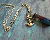 Handmade Wire-Wrapped Crystal Necklace with Anchor Charm