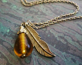 Teardrop Pendant Necklace with Charm