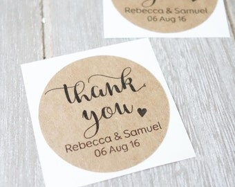 "Personalised Thank You Stickers 1.8"" (45mm) - Wedding Stickers - Baby Shower Favours - Invitation - Custom Kraft Sticker ~ Name Sticker"