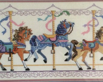 1980s Merry Go Round Horses Counted Cross Stitch Kit  16 x 9 From The Heart 53542