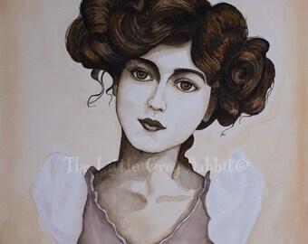 Original Watercolor, Sepia Painting, Portrait Watercolor, Gabrielle Ray, Vintage Style Art, Edwardian Portrait, Female Watercolor