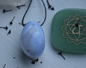 Large Drilled Blue Lace Agate Pendant