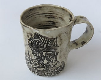 Boot House Mug - Handmade Stamped Ceramic Mug - Fairytale Mug #4