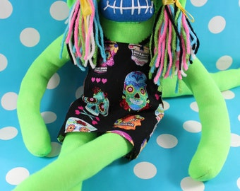 Sock Monkey / Sugar Skull / Neon Green & Blue / Colorful / Halloween / Day of the Dead / Gifts for Her / Sugar Skull Decor / Unique Gift