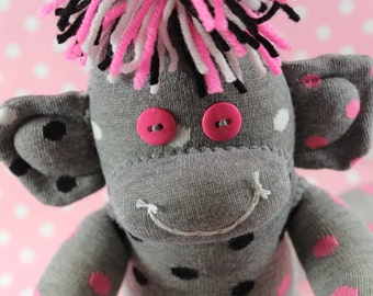 Sock Monkey / Polka Dot / Pink and Grey / Black and White / Nursery / Baby Shower / Baby Gift / Gifts for Her / Gifts for Girlfriend