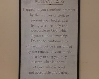 Romans 12:1-2 Wood Sign Christian Wooden Sign Bible Verse Sign Inspirational  Art Large Wood Sign 2x3