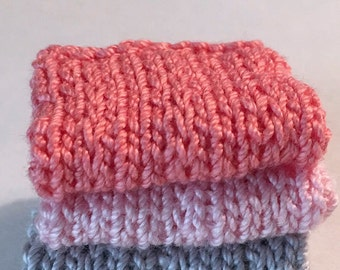 Miniature Faux Shelf Blankets - Shabby Chic Hand Knitted - Stack of 3 -Coral, Pink, Grey