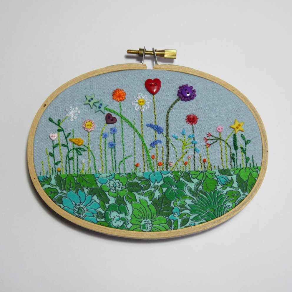 Small oval embroidery hoop garden with vintage