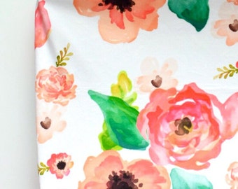 Changing Pad Cover in Floral Dreams, Watercolor Flowers in Pink, Coral and Blush