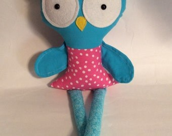 "Handmade Girl Owl Cloth Doll 18.5"" Tanya Plush Softie Rag Doll With Pink Dress Turquoise Body"