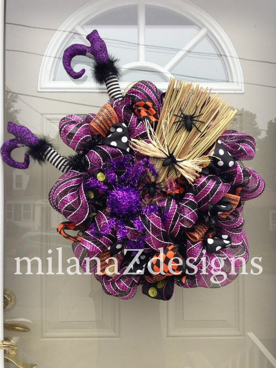 Halloween Witch, Purple and Black Fall Wreath