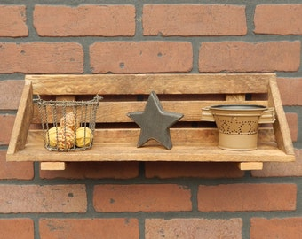 Tobacco Stick Lath Wood Shelf Wall Hanging