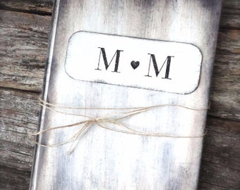 Rustic Wedding Guest Book with Personalized Name Plate, Sign In Book, Rustic Vintage Weddings