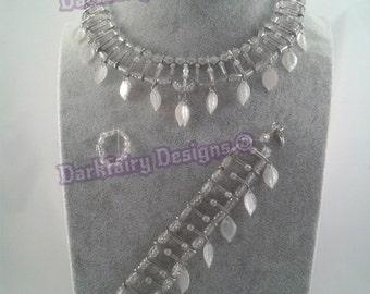 Beaded safetypin necklace bracelet and ring set