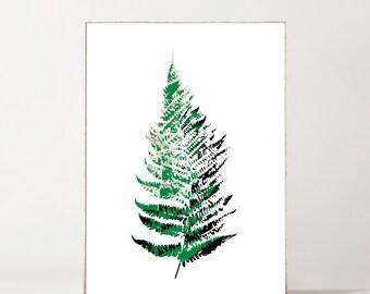 Fern Botanical Giclée Print Green + Black on White