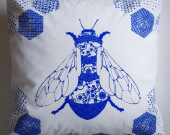 Bee Cushion  - handprinted,handmade 'Porcelain Bee' cushion pillow cover