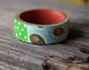 Wood Jewelry Bracelet, Blue Green Bracelet, Wood Bangle Bracelet, Decoupaged Collage Bracelet, Paisley Jewelry, Cute Design Bracelet