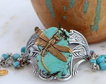 Southwestern Turquoise Bracelet, Dragonfly Bracelet Silver, Dragonfly Statement Jewelry, Boho Chic Statement Jewelry, Best Jewelry Gift Her