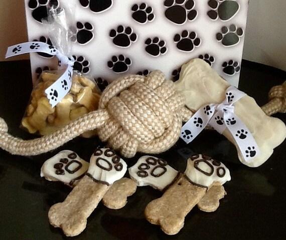 Etsy Dog Gift Baskets : Items similar to dog treats paw print gift basket