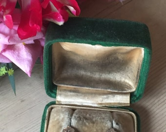 A Pair of 9k Early Victorian Paste Earrings in Original Box
