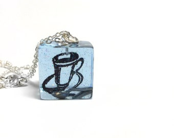 Coffee lovers pendant necklace, high quality blue glittery resin cube, 925 sterling silver jewelry