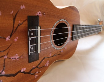 Hand Painted Cherry Blossom Ukulele - Made To Order