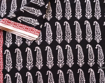 Unique Indian paisley Block print fabric Vegetable dyed fabric Indian cotton fabric by the yard