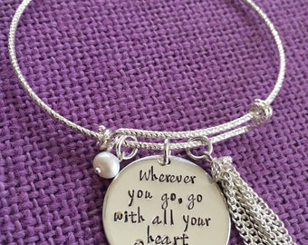 Graduation Gift - Sterling Silver Graduation Bracelet - Personalized Graduation - Wherever you go, go with all your heart - gift for graduat