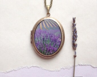 Lavender Fields Locket - Secret Garden Collection - French Floral Photo Necklace - Purple Flora