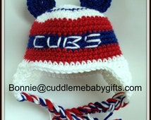 Crochet Chicago Baby Baseball Baby Cubs Baby Shower Gift Baby Bear Hat