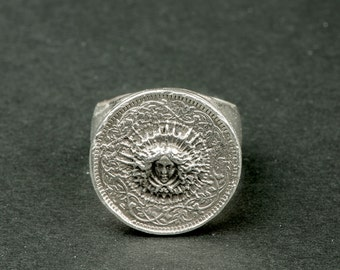 Ring in silver Knight Sun King (ring in Sterling Silver / Renaissance / engravings) / Louis XIV