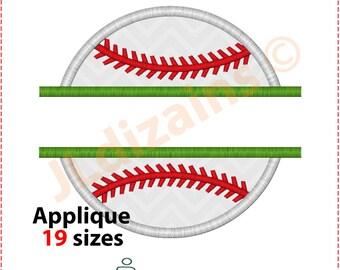 Baseball Applique Design. Baseball embroidery design. Split baseball embroidery. Split baseball applique. Baseball.Machine embroidery design