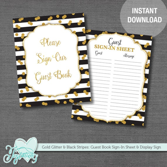 gold glitter and black guest book sign in sheet and display sign