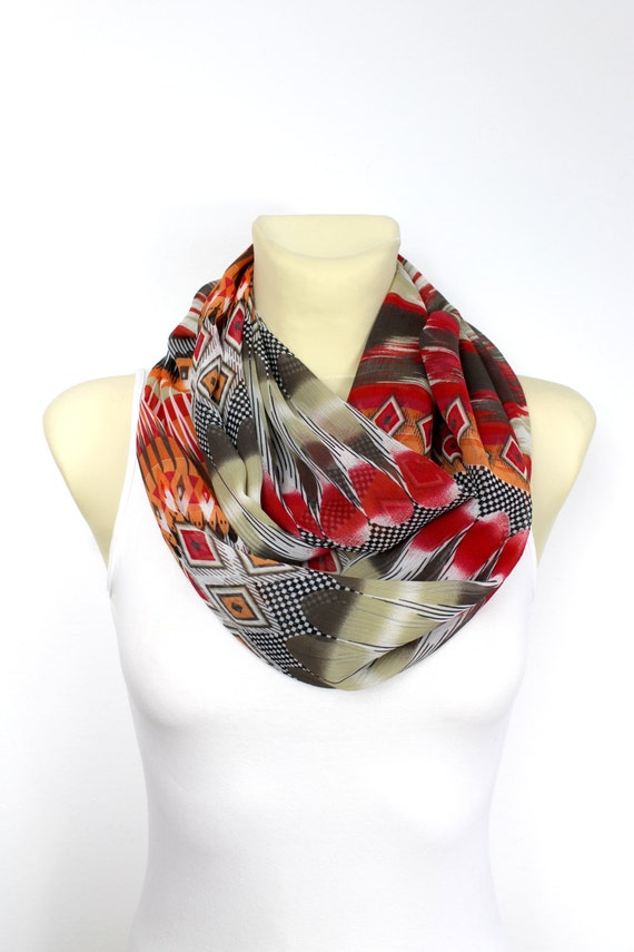 Floral Infinity Printed Loop Scarf Boho Infinity Scarf Geometric Infinity Womens Fashion Scarf Birthday Gift for her Spring Celebrations