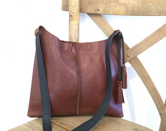 BROWN leather crossbody bag with tassels, messenger, shoulder bag, tote, purse, Best Seller