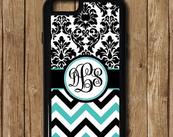 Teal & Black iPhone 6 Case, teal case, turquoise case, damask iphone 5 case, iphone 6 plus case, iphone 6 case, iphone monogram