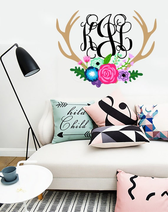 Wall Decals In Dorms : Woodland wall decal dorm decor initials sticker
