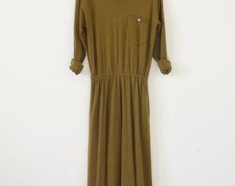 90s olive green dress / sweater dress / vintage maxi dress