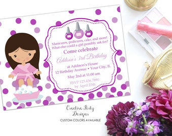 Girls Nail Party Invitation - Nail Birthday Invite - Manicure Pedicure Birthday Party Invitation - Birthday Invitation Manicure Girl