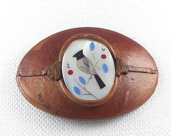 Vintage Large Zuni Inlay Leather Belt Buckle Zuni Bird Belt Buckle Leather and Stone Inlay Zuni Belt Buckle Vintage Zuni Belt Buckle