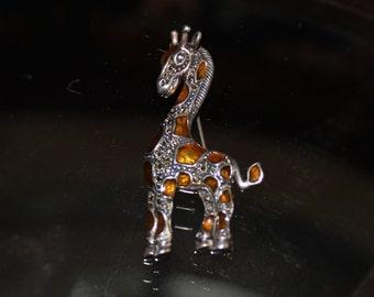 Vintage Judith Jack Giraffe Pin Sterling Marcasite Enamel