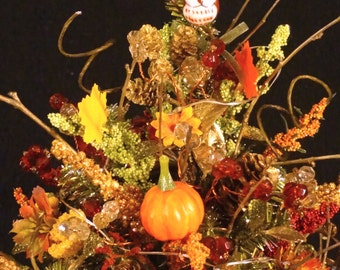 Fall Arrangment,Small Christmas Tree,Thanksgiving Decoration,Lighted Table Top Tree,Small Rustic Christmas Tree,Decorated Christmas Tree