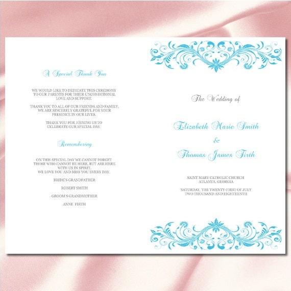 Wedding Program Template Diy Malibu Blue Silver Ceremony