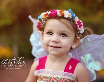 Floral fairy halo. Flower crown. Photography prop. Halo prop. baby headbands.