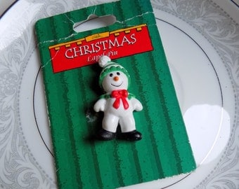 Vintage 1980s Gibson Greetings Christmas Lapel Pin Snowman Brooch