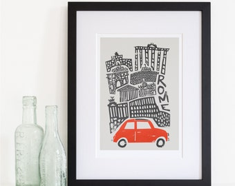Rome City Art, Travel Wall Decor, Italy Colosseum, Pantheon, Gift for Travel Lovers, Travellers, Retro Style Print, Mid Century Modern