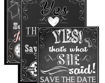 save the date invitations, custom save the dates, funny save the dates, modern save the date invite, yes thats what she said invite INVSTD01