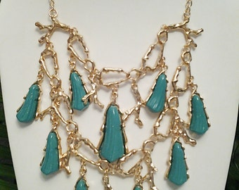 Teal and Gold Chain Necklace / Teal and Gold Bib Necklace.