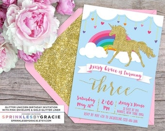 Magical Glitter Unicorn Birthday Party Invitation with Free Shipping or DIY Printable
