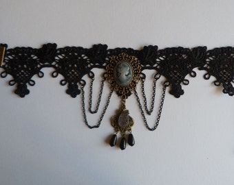 Black Lace Gothic Choker, Victorian Lace Choker, Victorian Cameo Necklace, Steampunk Choker, Elegant Jewelry, Gothic Jewelry,Cosplay Jewelry